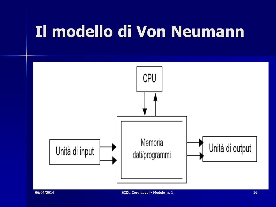 Il modello di Von Neumann 06/04/201416ECDL Core Level - Modulo n. 1