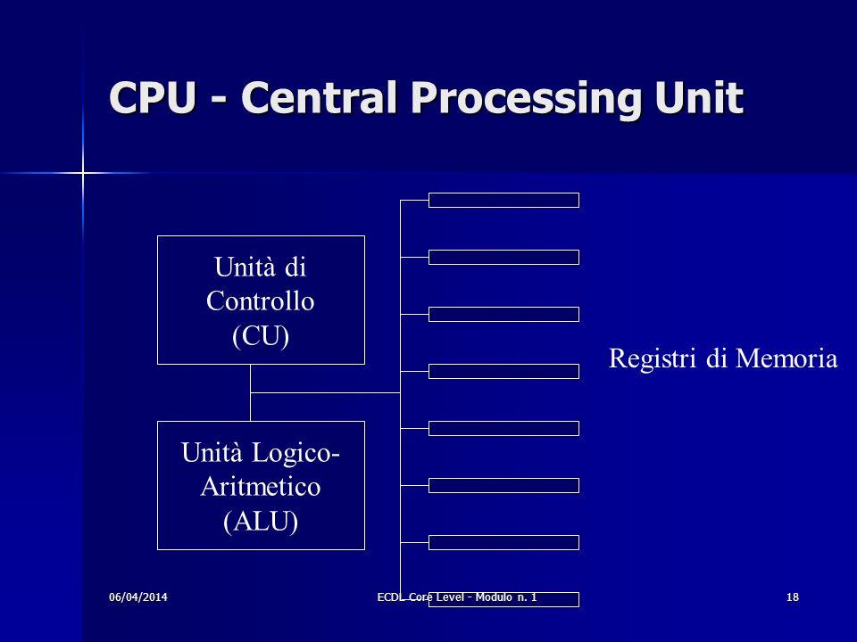 CPU - Central Processing Unit Unità di Controllo (CU) Unità Logico- Aritmetico (ALU) Registri di Memoria 06/04/201418ECDL Core Level - Modulo n. 1