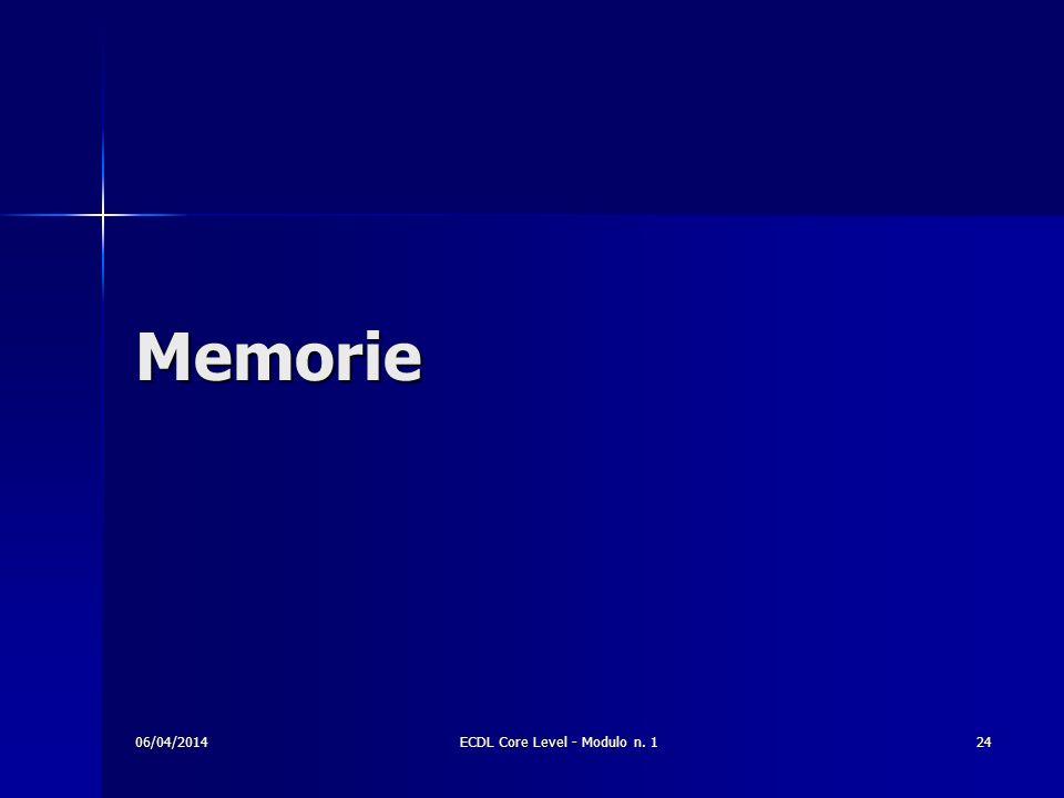 Memorie 06/04/201424ECDL Core Level - Modulo n. 1