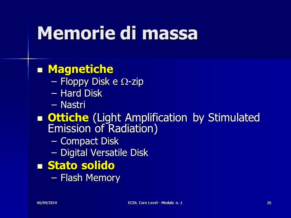Memorie di massa Magnetiche Magnetiche –Floppy Disk e -zip –Hard Disk –Nastri Ottiche (Light Amplification by Stimulated Emission of Radiation) Ottich