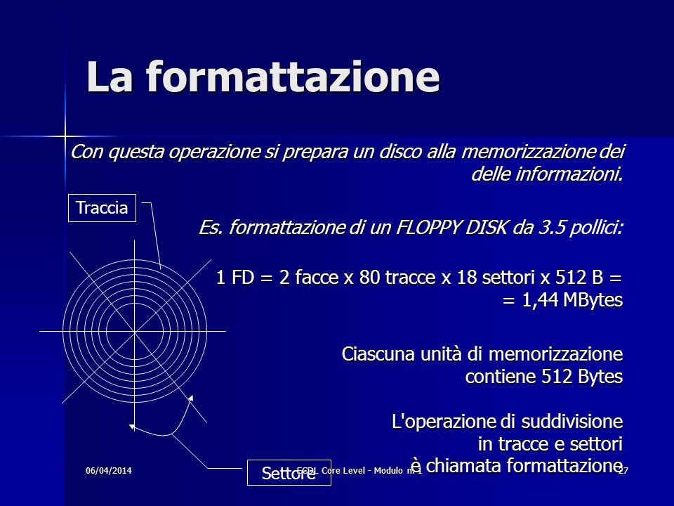 Con questa operazione si prepara un disco alla memorizzazione dei delle informazioni. Es. formattazione di un FLOPPY DISK da Es. formattazione di un F