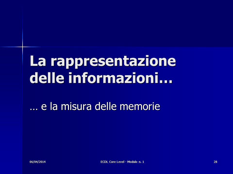 La rappresentazione delle informazioni… … e la misura delle memorie 06/04/201428ECDL Core Level - Modulo n. 1