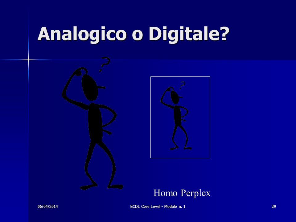 Analogico o Digitale? Homo Perplex 06/04/201429ECDL Core Level - Modulo n. 1