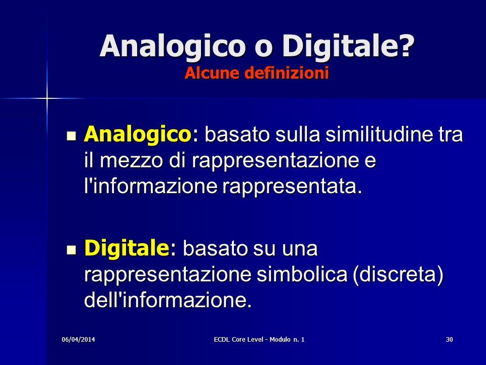 Analogico o Digitale? Alcune definizioni Analogico: basato sulla similitudine tra il mezzo di rappresentazione e l'informazione rappresentata. Analogi