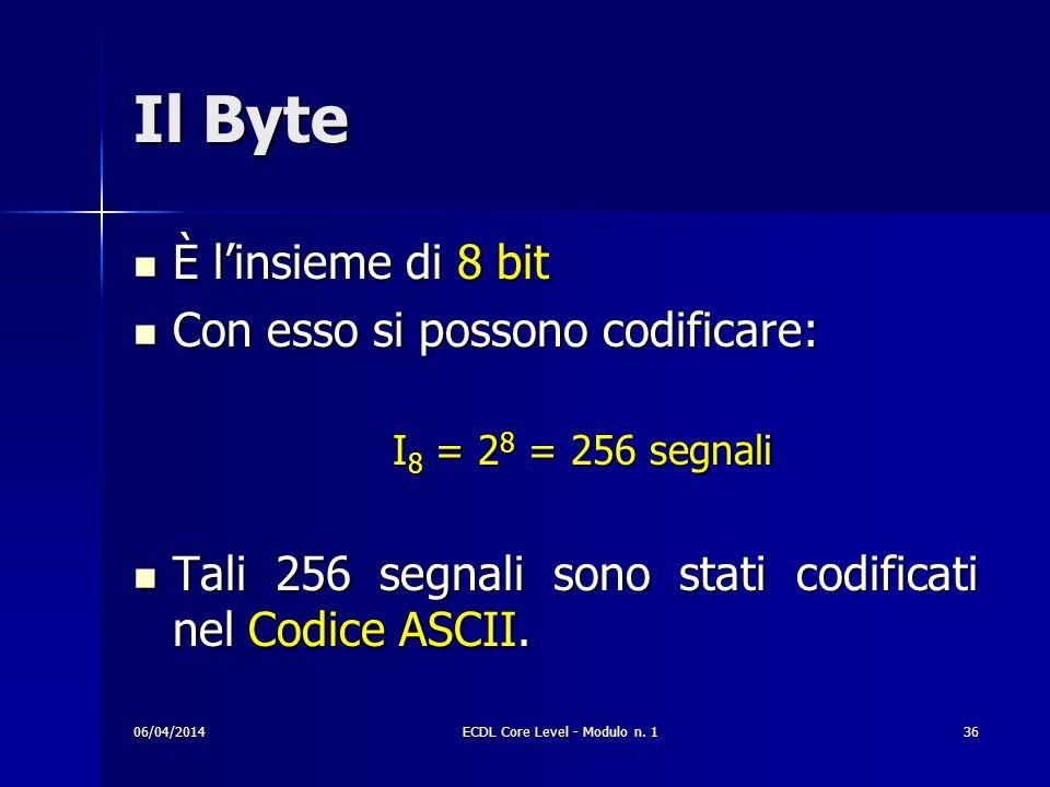 Il Byte È linsieme di 8 bit È linsieme di 8 bit Con esso si possono codificare: Con esso si possono codificare: I 8 = 2 8 = 256 segnali Tali 256 segna
