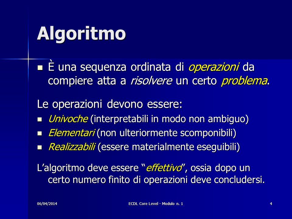 Algoritmo È una sequenza ordinata di operazioni da compiere atta a risolvere un certo problema. È una sequenza ordinata di operazioni da compiere atta