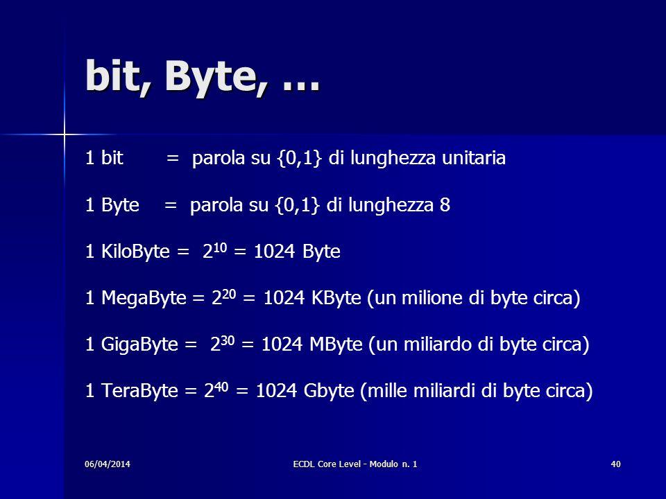 bit, Byte, … 1 bit = parola su {0,1} di lunghezza unitaria 1 Byte = parola su {0,1} di lunghezza 8 1 KiloByte = 2 10 = 1024 Byte 1 MegaByte = 2 20 = 1