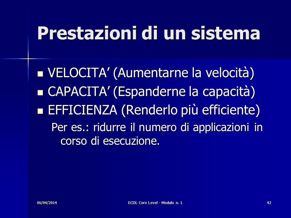 Prestazioni di un sistema VELOCITA (Aumentarne la velocità) VELOCITA (Aumentarne la velocità) CAPACITA (Espanderne la capacità) CAPACITA (Espanderne l