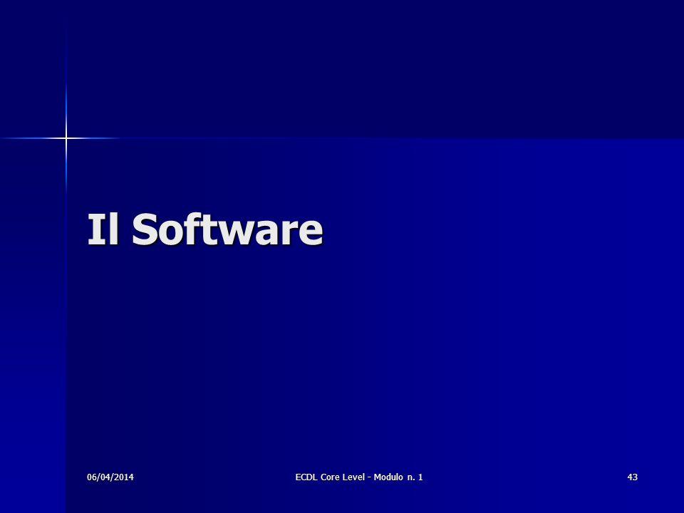 Il Software 06/04/201443ECDL Core Level - Modulo n. 1