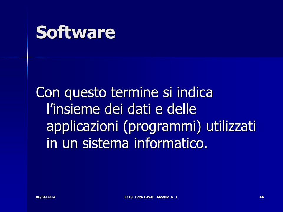 Software Con questo termine si indica linsieme dei dati e delle applicazioni (programmi) utilizzati in un sistema informatico. 06/04/201444ECDL Core L