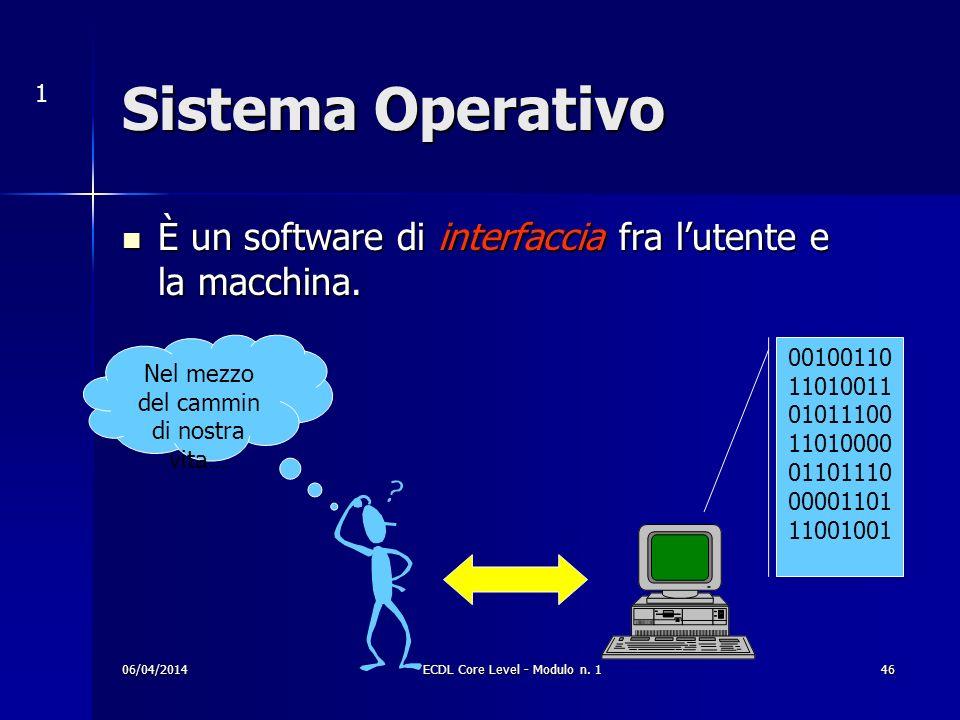 Sistema Operativo È un software di interfaccia fra lutente e la macchina. È un software di interfaccia fra lutente e la macchina. Nel mezzo del cammin