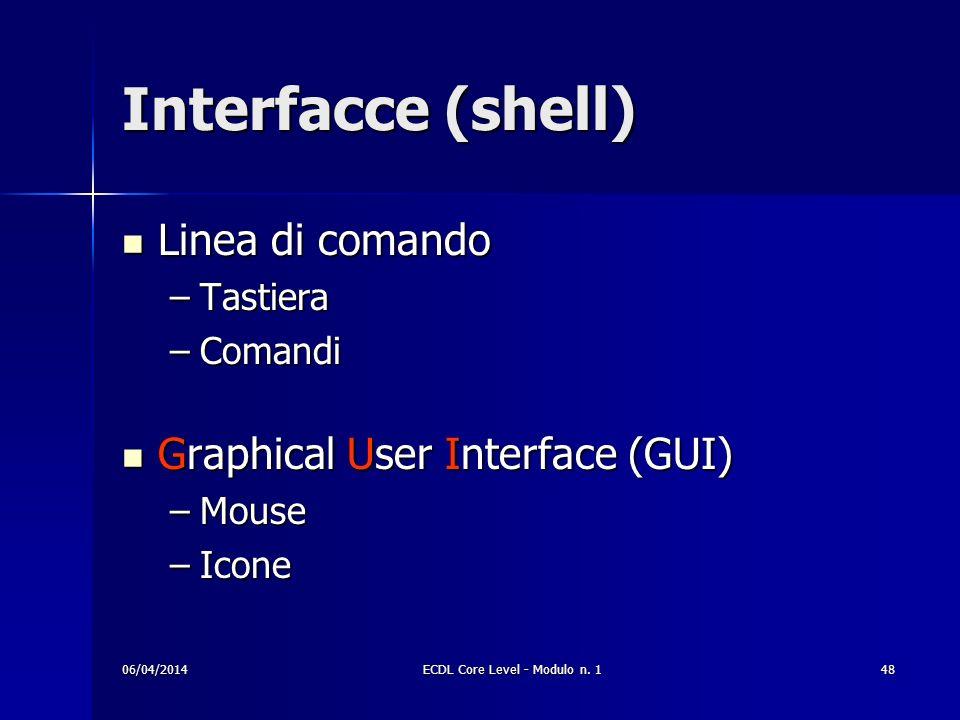 Interfacce (shell) Linea di comando Linea di comando –Tastiera –Comandi Graphical User Interface (GUI) Graphical User Interface (GUI) –Mouse –Icone 06
