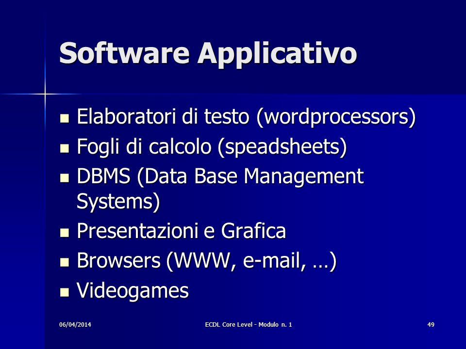 Software Applicativo Elaboratori di testo (wordprocessors) Elaboratori di testo (wordprocessors) Fogli di calcolo (speadsheets) Fogli di calcolo (spea