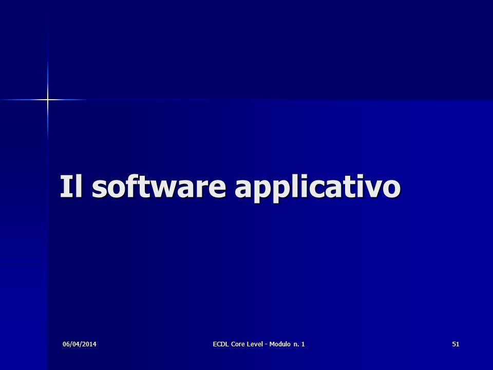Il software applicativo 06/04/201451ECDL Core Level - Modulo n. 1
