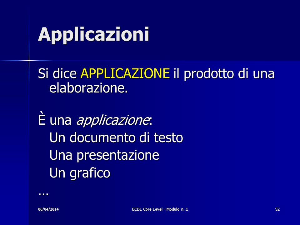 Applicazioni Si dice APPLICAZIONE il prodotto di una elaborazione. È una applicazione: Un documento di testo Una presentazione Un grafico … 06/04/2014