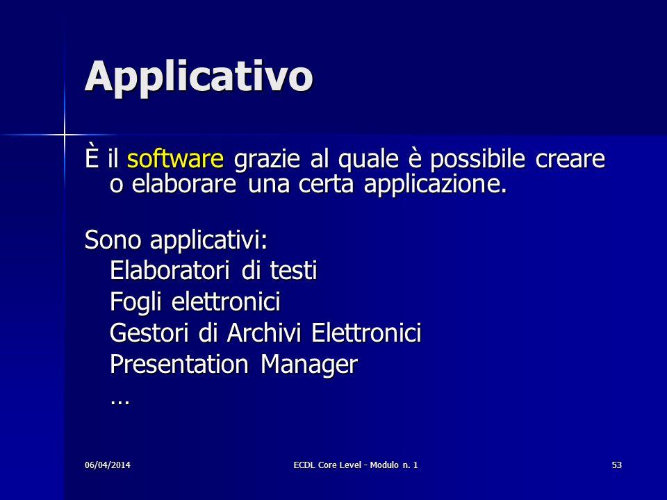 Applicativo È il software grazie al quale è possibile creare o elaborare una certa applicazione. Sono applicativi: Elaboratori di testi Fogli elettron
