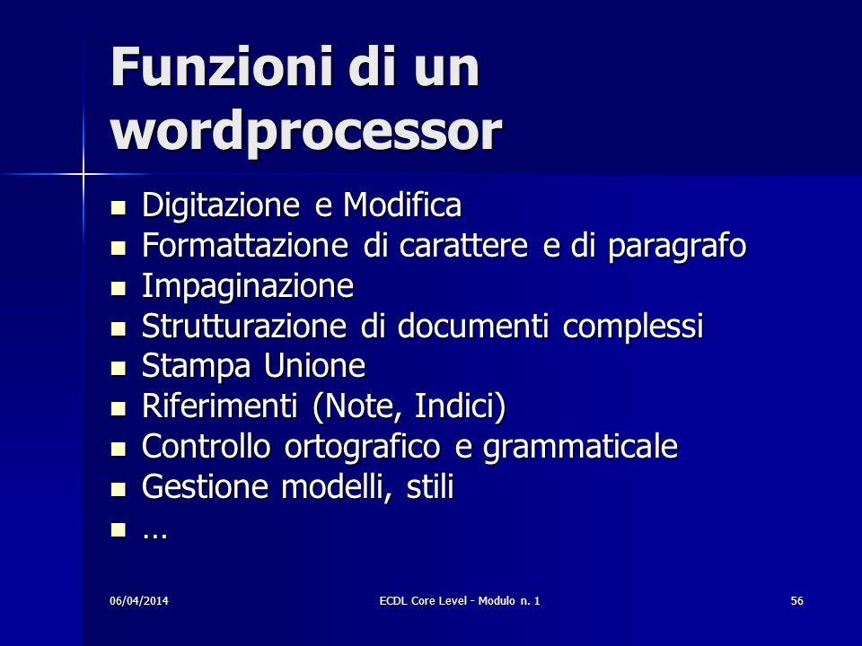 Funzioni di un wordprocessor Digitazione e Modifica Digitazione e Modifica Formattazione di carattere e di paragrafo Formattazione di carattere e di p