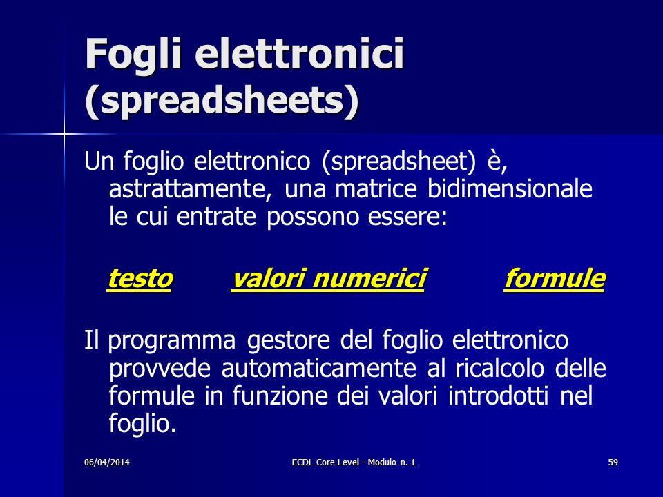 Fogli elettronici (spreadsheets) Un foglio elettronico (spreadsheet) è, astrattamente, una matrice bidimensionale le cui entrate possono essere: testo