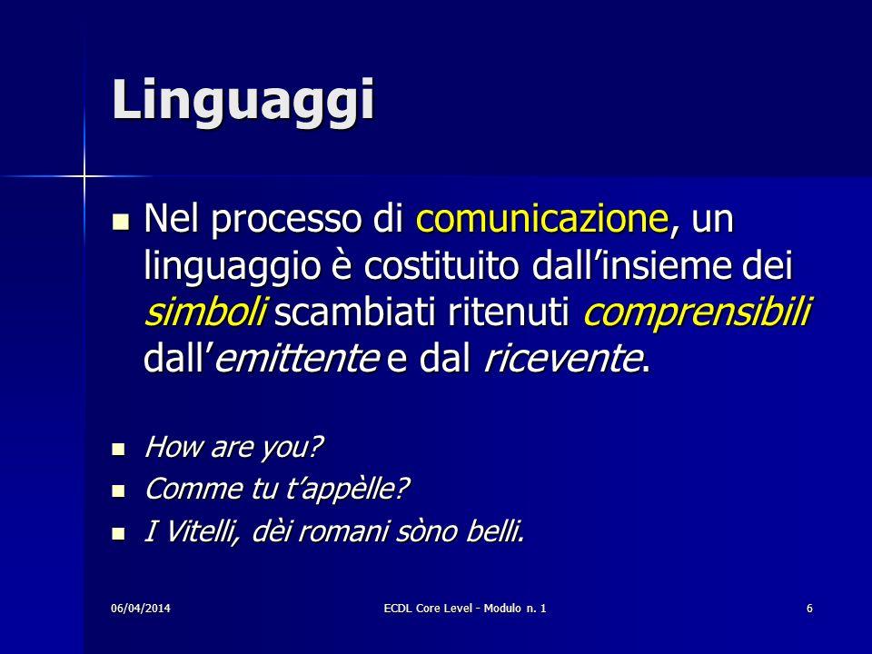 Linguaggi Nel processo di comunicazione, un linguaggio è costituito dallinsieme dei simboli scambiati ritenuti comprensibili dallemittente e dal ricev