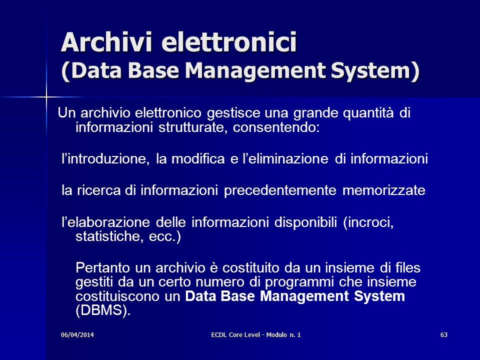 Archivi elettronici (Data Base Management System) Un archivio elettronico gestisce una grande quantità di informazioni strutturate, consentendo: lintr