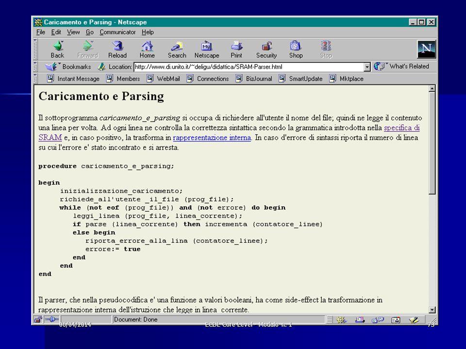 06/04/201473ECDL Core Level - Modulo n. 1