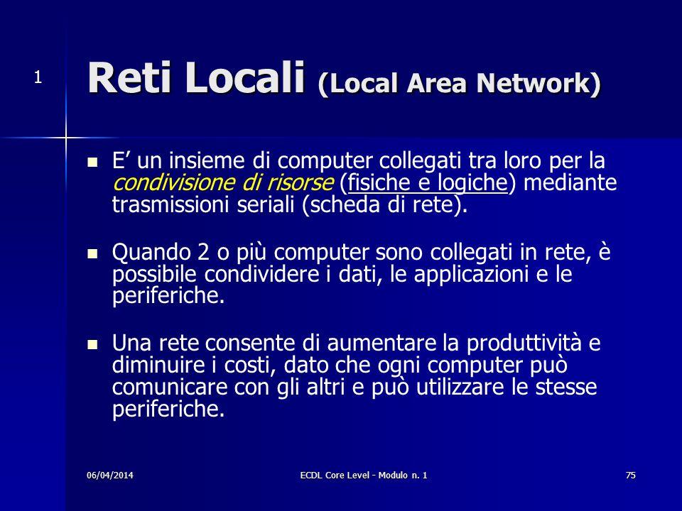 Reti Locali (Local Area Network) E un insieme di computer collegati tra loro per la condivisione di risorse (fisiche e logiche) mediante trasmissioni