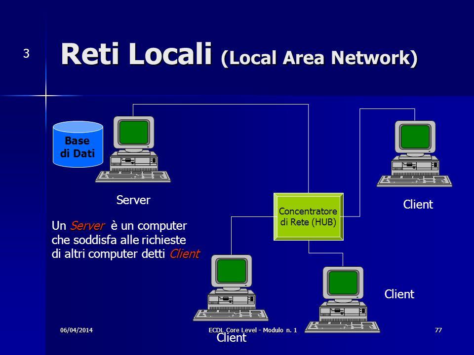 Reti Locali (Local Area Network) 3 Concentratore di Rete (HUB) Server Base di Dati Client Server Un Server è un computer che soddisfa alle richieste C