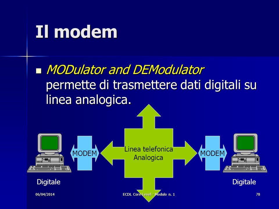 Il modem MODulator and DEModulator permette di trasmettere dati digitali su linea analogica. MODulator and DEModulator permette di trasmettere dati di