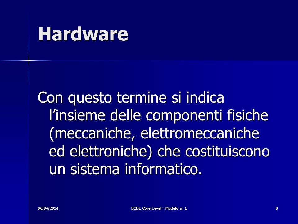 Hardware Con questo termine si indica linsieme delle componenti fisiche (meccaniche, elettromeccaniche ed elettroniche) che costituiscono un sistema i