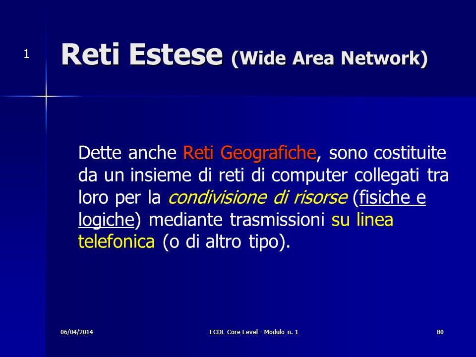 Reti Estese (Wide Area Network) RetiGeografiche Dette anche Reti Geografiche, sono costituite da un insieme di reti di computer collegati tra loro per