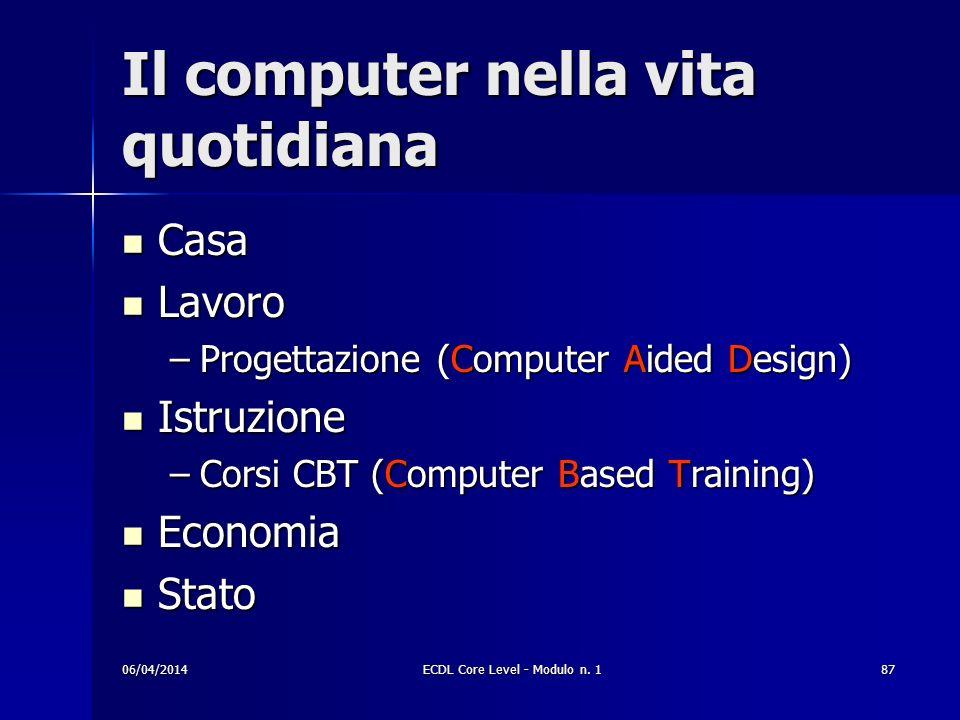 Il computer nella vita quotidiana Casa Casa Lavoro Lavoro –Progettazione (Computer Aided Design) Istruzione Istruzione –Corsi CBT (Computer Based Trai