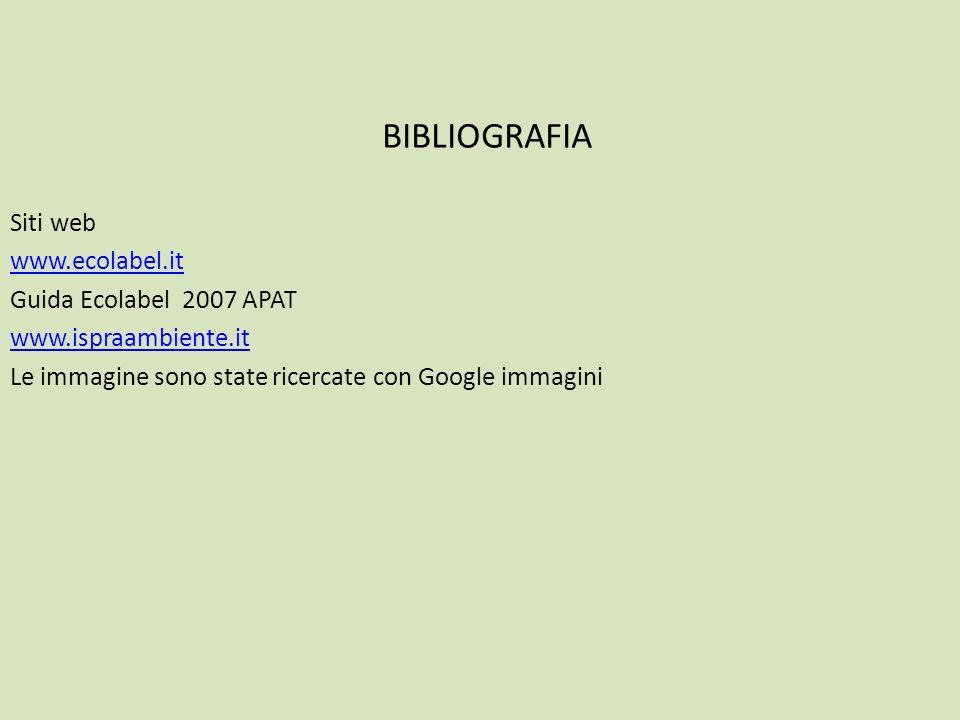 BIBLIOGRAFIA Siti web www.ecolabel.it Guida Ecolabel 2007 APAT www.ispraambiente.it Le immagine sono state ricercate con Google immagini