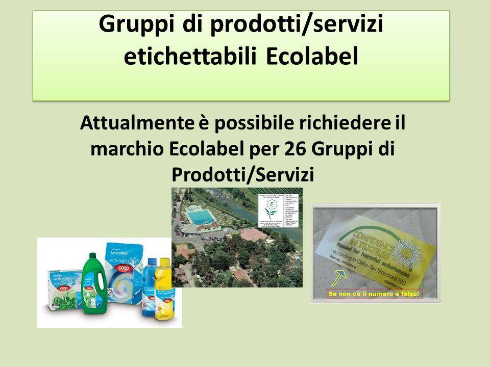Gruppi di prodotti/servizi etichettabili Ecolabel Attualmente è possibile richiedere il marchio Ecolabel per 26 Gruppi di Prodotti/Servizi