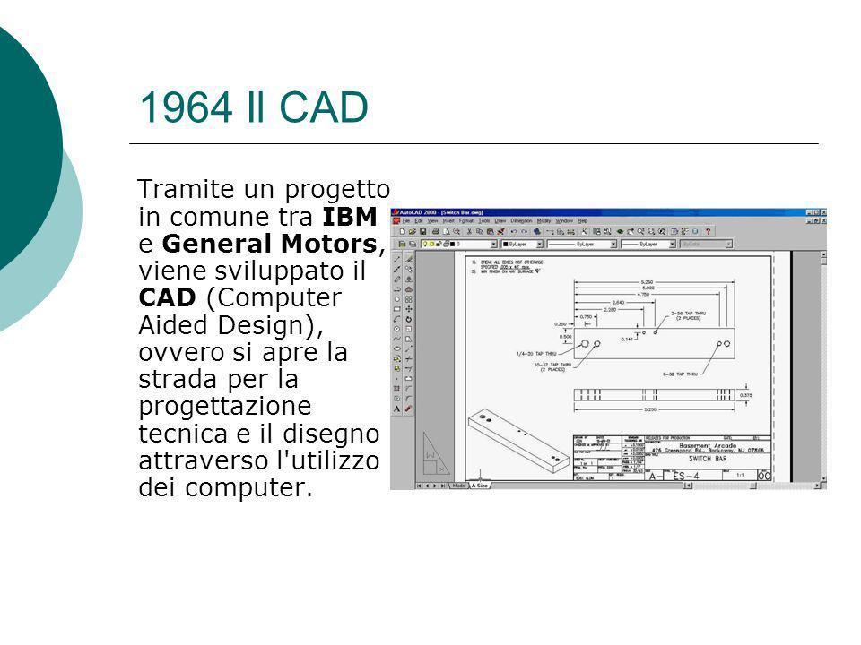 1964 Il CAD Tramite un progetto in comune tra IBM e General Motors, viene sviluppato il CAD (Computer Aided Design), ovvero si apre la strada per la progettazione tecnica e il disegno attraverso l utilizzo dei computer.