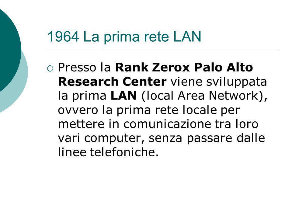 1964 La prima rete LAN Presso la Rank Zerox Palo Alto Research Center viene sviluppata la prima LAN (local Area Network), ovvero la prima rete locale per mettere in comunicazione tra loro vari computer, senza passare dalle linee telefoniche.
