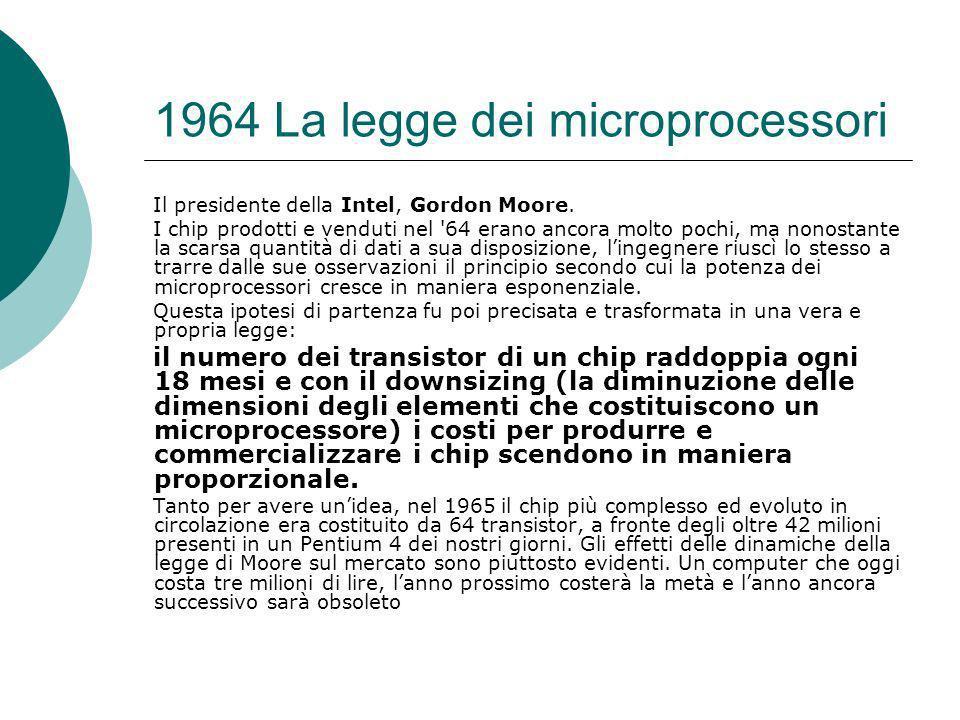 1964 La legge dei microprocessori Il presidente della Intel, Gordon Moore.