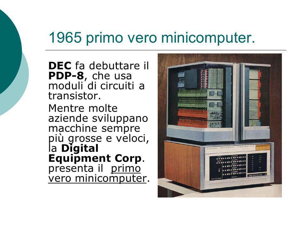 1965 primo vero minicomputer.DEC fa debuttare il PDP-8, che usa moduli di circuiti a transistor.