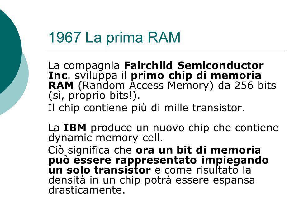 1967 La prima RAM La compagnia Fairchild Semiconductor Inc.