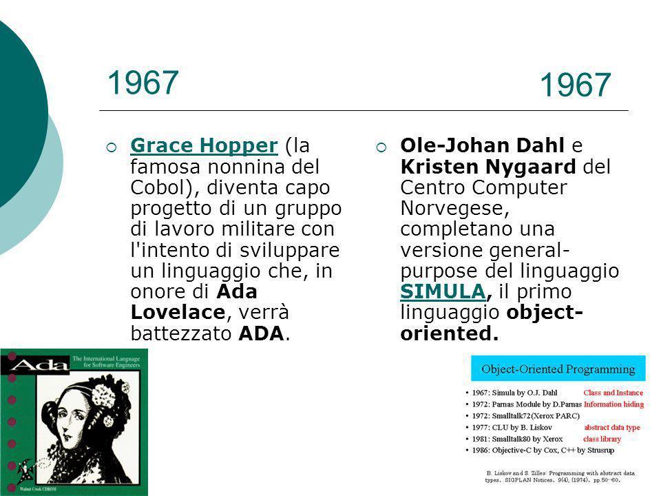 1967 Grace Hopper (la famosa nonnina del Cobol), diventa capo progetto di un gruppo di lavoro militare con l intento di sviluppare un linguaggio che, in onore di Ada Lovelace, verrà battezzato ADA.