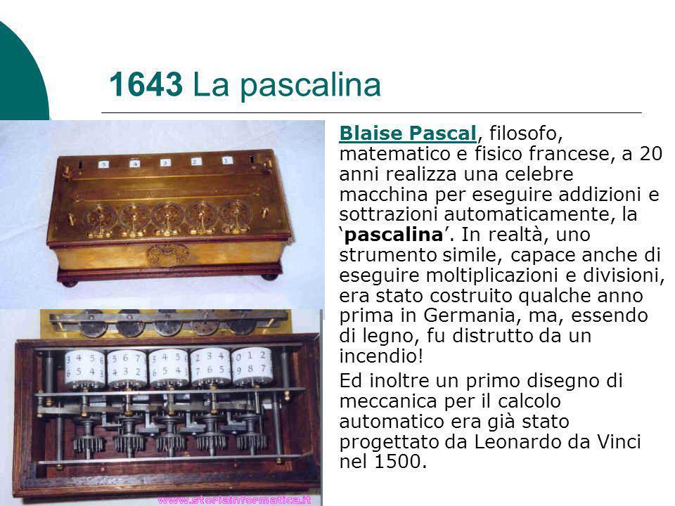 1643 La pascalina Blaise PascalBlaise Pascal, filosofo, matematico e fisico francese, a 20 anni realizza una celebre macchina per eseguire addizioni e sottrazioni automaticamente, lapascalina.