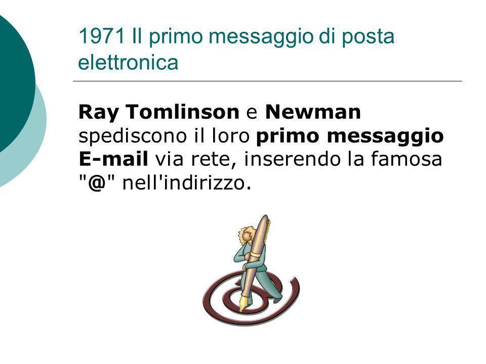 1971 Il primo messaggio di posta elettronica Ray Tomlinson e Newman spediscono il loro primo messaggio E-mail via rete, inserendo la famosa @ nell indirizzo.