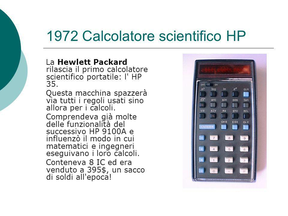 1972 Calcolatore scientifico HP La Hewlett Packard rilascia il primo calcolatore scientifico portatile: l HP 35.