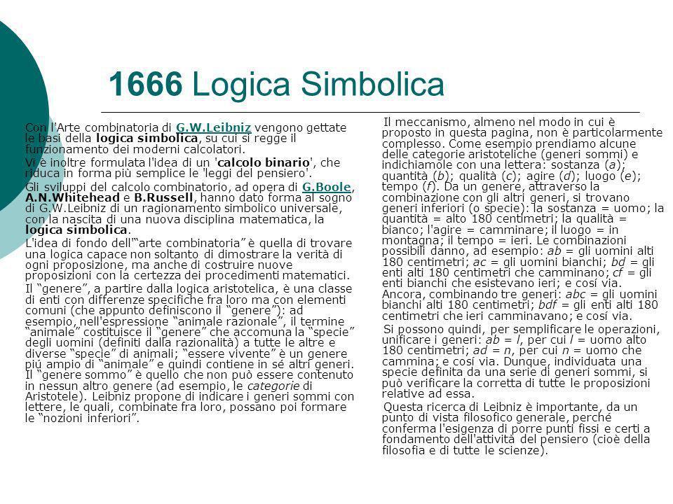 1666 Logica Simbolica Con l Arte combinatoria di G.W.Leibniz vengono gettate le basi della logica simbolica, su cui si regge il funzionamento dei moderni calcolatori.