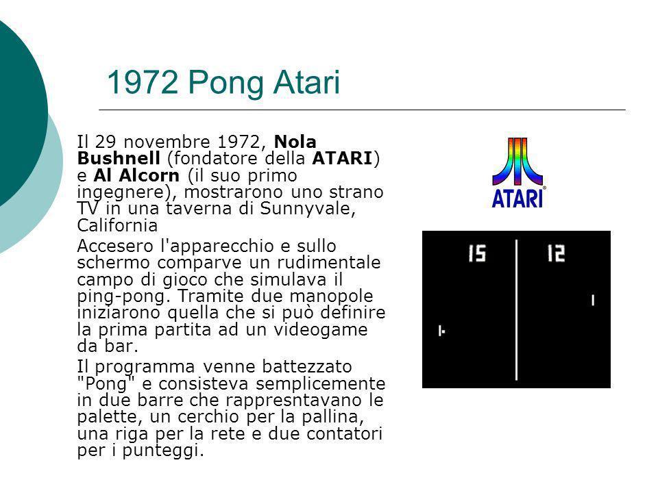 1972 Pong Atari Il 29 novembre 1972, Nola Bushnell (fondatore della ATARI) e Al Alcorn (il suo primo ingegnere), mostrarono uno strano TV in una taverna di Sunnyvale, California Accesero l apparecchio e sullo schermo comparve un rudimentale campo di gioco che simulava il ping-pong.