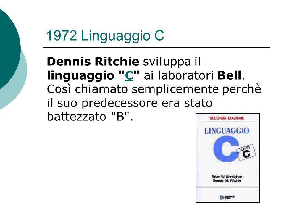 1972 Linguaggio C Dennis Ritchie sviluppa il linguaggio C ai laboratori Bell.
