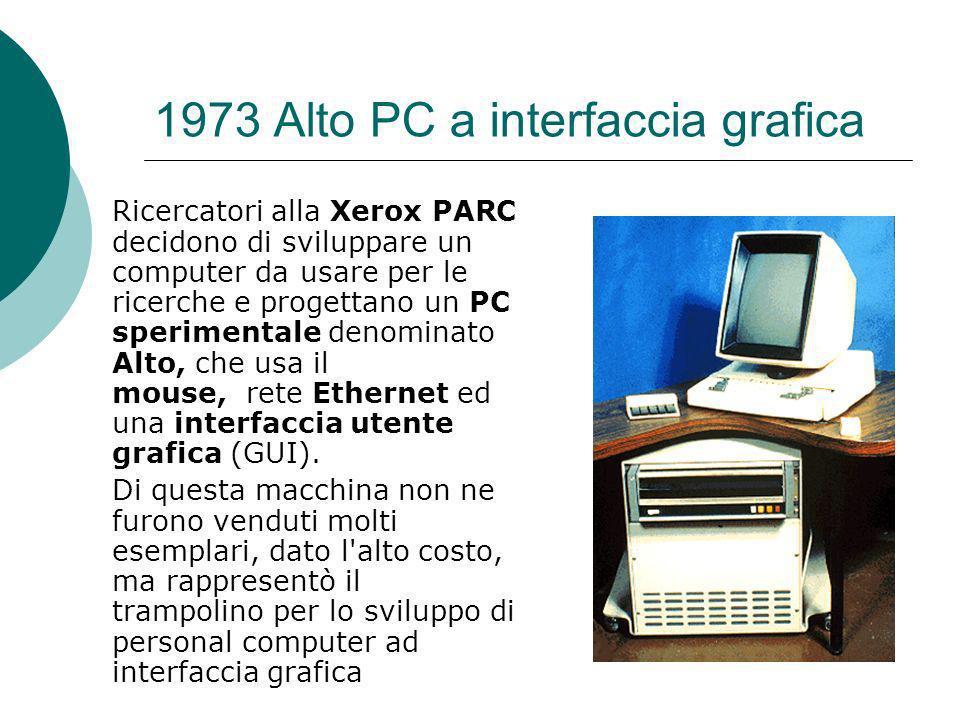 1973 Alto PC a interfaccia grafica Ricercatori alla Xerox PARC decidono di sviluppare un computer da usare per le ricerche e progettano un PC sperimentale denominato Alto, che usa il mouse, rete Ethernet ed una interfaccia utente grafica (GUI).