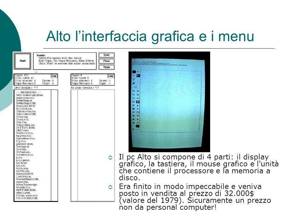 Alto linterfaccia grafica e i menu Il pc Alto si compone di 4 parti: il display grafico, la tastiera, il mouse grafico e l unità che contiene il processore e la memoria a disco.