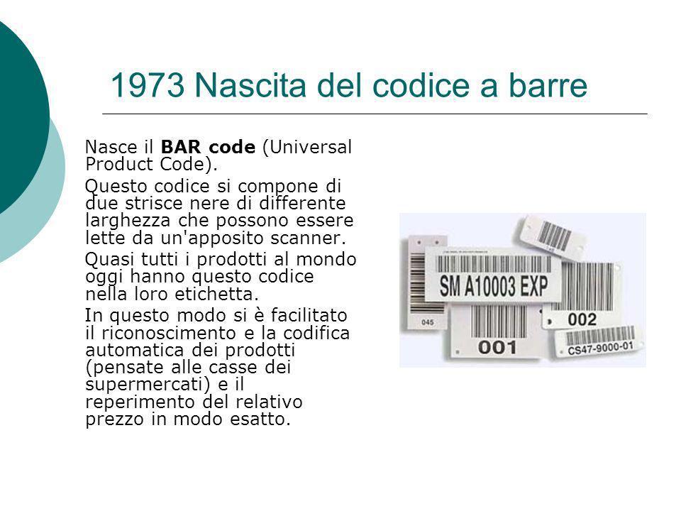1973 Nascita del codice a barre Nasce il BAR code (Universal Product Code).