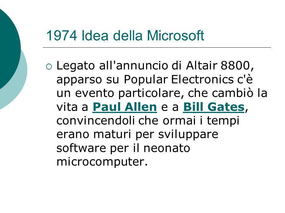 1974 Idea della Microsoft Legato all annuncio di Altair 8800, apparso su Popular Electronics c è un evento particolare, che cambiò la vita a Paul Allen e a Bill Gates, convincendoli che ormai i tempi erano maturi per sviluppare software per il neonato microcomputer.