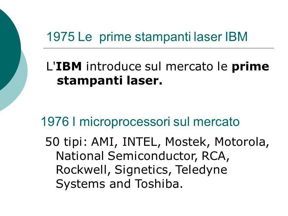 1975 Le prime stampanti laser IBM L IBM introduce sul mercato le prime stampanti laser.